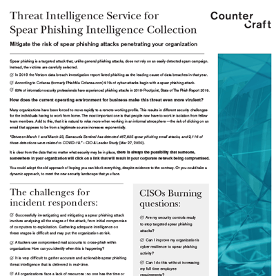 Threat Intelligence Service for Pre-Breach Intelligence Collection