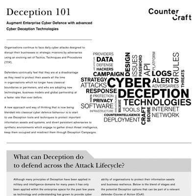 Deception 101 - Augment Enterprise Cyber Defence with advanced Cyber Deception Technologies