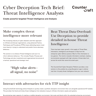 Cyber Deception Tech Brief: Threat Intelligence Analysts