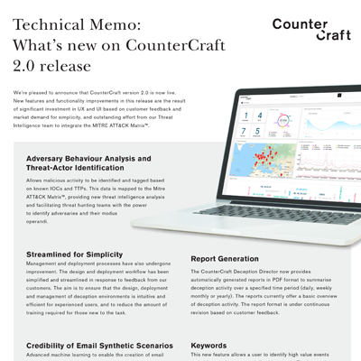 What's new on CounterCraft 2.0 release