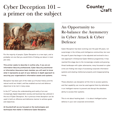 Cyber Deception 101 - a primer on the subject