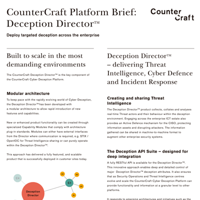 CounterCraft Platform Brief: Deception Director™