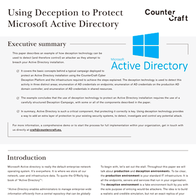 Using Deception to Protect Microsoft Active Directory