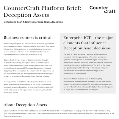 CounterCraft Platform Brief: Deception Assets