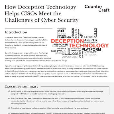 How Deception Technology Helps CISOs Meet the Challenges of Cyber security