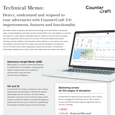 What's new on CounterCraft 2.6 release